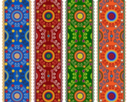 Detailed Henna Banner  Border, Henna inspired Colorful Border - very elaborate and easily editable Vector