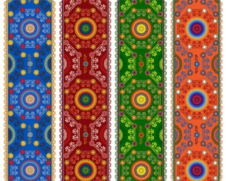 Detailed Henna Banner  Border, Henna inspired Colorful Border - very elaborate and easily editable
