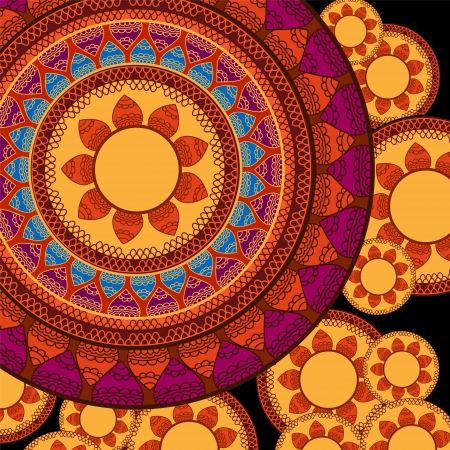 elaborate: Indian Henna Mandala Background Design, very elaborate and easily editable