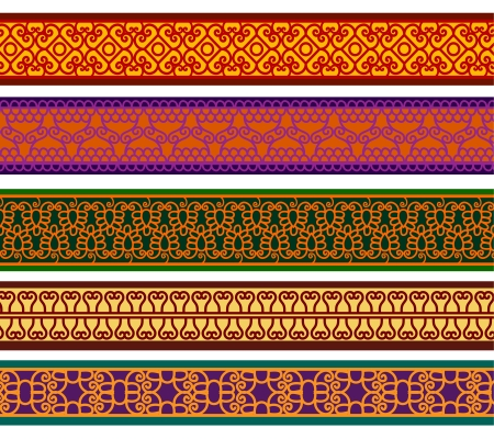 Detailed Henna Banner  Border, Henna inspired Colorful Border  Ethnic vector design from India  Can be used in textiles, book design, website background