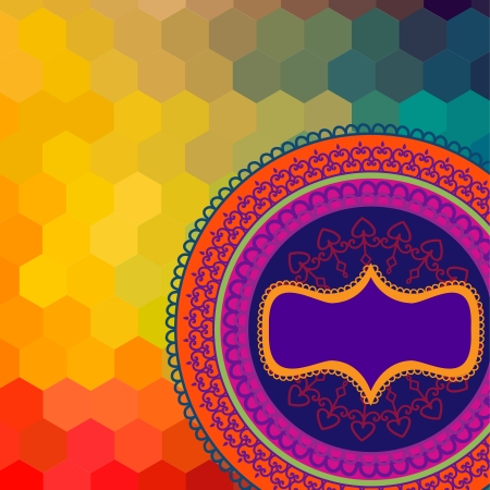 Colorful Henna Mandala design, very elaborate and easily editable  Can be used in textiles, for book design, website background  Ethnic vector Mandala background from India  Vector