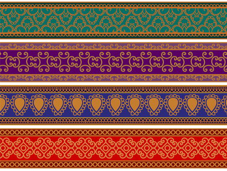elaborate: Detailed Henna Banner  Border, Henna inspired Colorful Border - very elaborate and easily editable