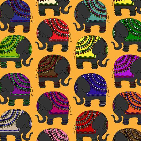 indian elephant: Dise�o del elefante indio decorado Vectores