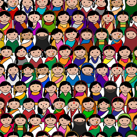 Big crowd of Indian women vector avatar illustration - Indian woman representing different states religions of India
