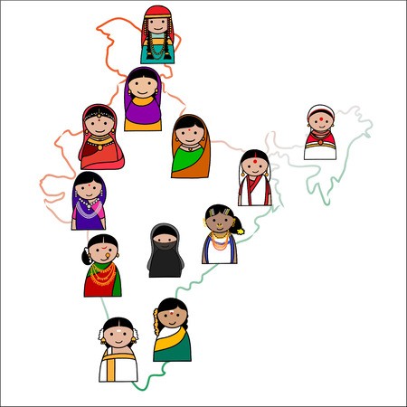 Indian woman vector avatar - Indian woman representing different states of India  Vector