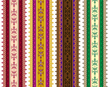 saree: Detailed HDetailed Henna Banner  Border, Henna inspired Colorful Border - very elaborate and easily editableenna Banner  Border, Henna inspired Colorful Border - very elaborate and easily editable