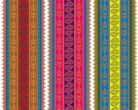 saree: Detailed Henna Banner  Border, Henna inspired Colorful Border - very elaborate and easily editable