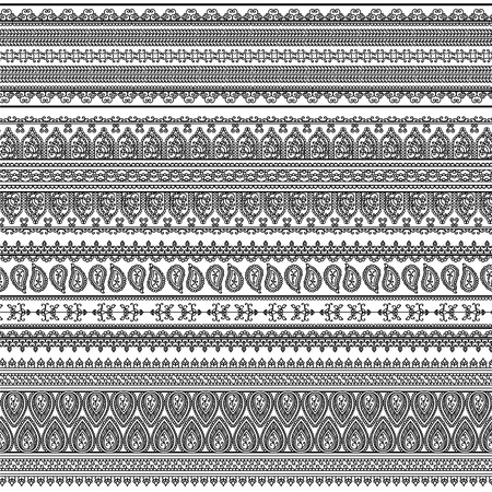 rangoli: Indian Henna Border decoration elements patterns in black and white colors  Popular ethnic border in one mega pack set collections  Vector illustrations Could be used as divider, frame, etc