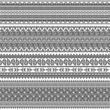 bordi decorativi: Indiani Henna Border elementi decorativi modelli in bianco e colori bianco Popolare confine etnico in una mega pacchetto illustrazioni collezioni Vector set Potrebbe essere usato come divisorio, telaio, ecc Vettoriali