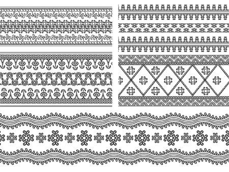 Indiase Henna Border decoratie elementen patronen in zwart en wit kleuren Populaire etnische grens in een mega pak set collecties Vector illustraties kunnen worden gebruikt als scheidingswand, frame, etc