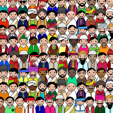 christian young: Big crowd of Indian men vector avatar illustration - Indian men representing different states religions of India