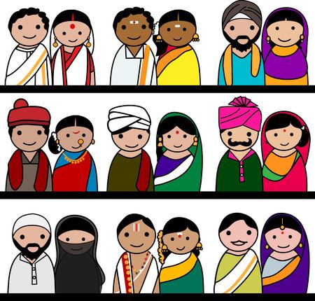 sari: Indian mujeres y hombres avatar ilustraci�n - pareja india que representa diferentes estados  religiones de la India.