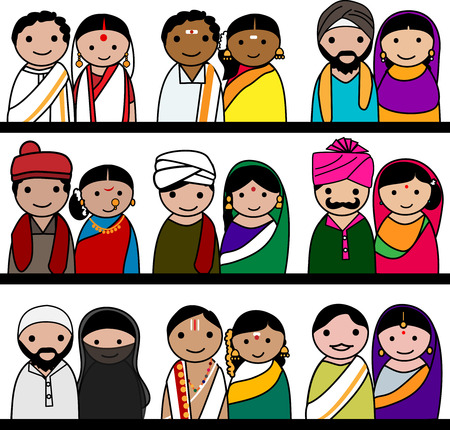Indian women and men avatar illustration - Indian couple representing different statesreligions of India.