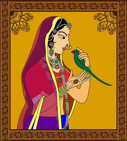 mughal: Indian Queen  princess portrait -inspired by 16th century India Rajput style of art.