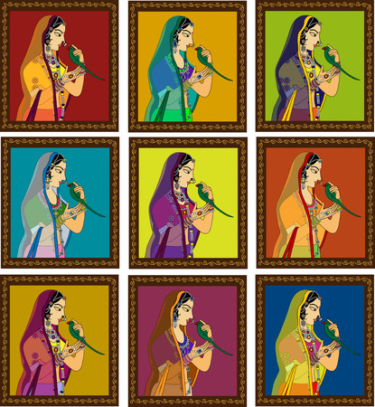 Indian Queen  princess portrait -inspired by 16th century India Rajput style of art. Vector