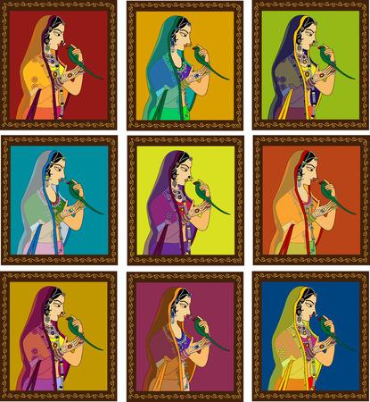 antik: Indian Queen  Prinzessin Porträt von 16. Jahrhundert Indien Rajput Stil der Kunst inspirierte.