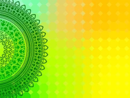 saree: Ethnic & Colorful Henna Mandala design, very elaborate and easily editable