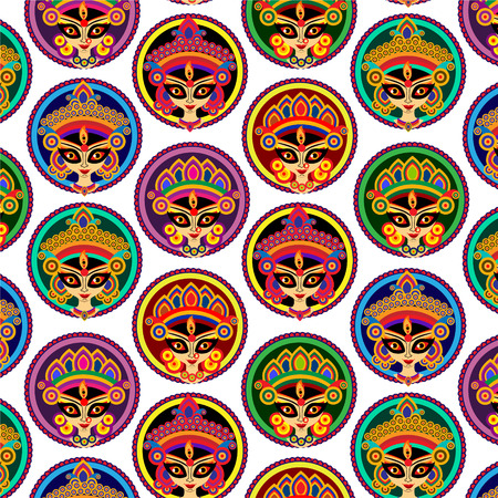 puja: Colorful Illustration of Goddess Durga (hindu  Indian god) Illustration