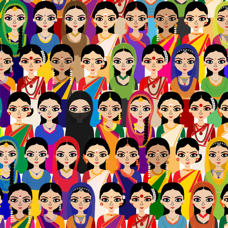 sari: Big crowd of Indian women vector avatars detailed illustration - Indian woman representing different statesreligions of India.