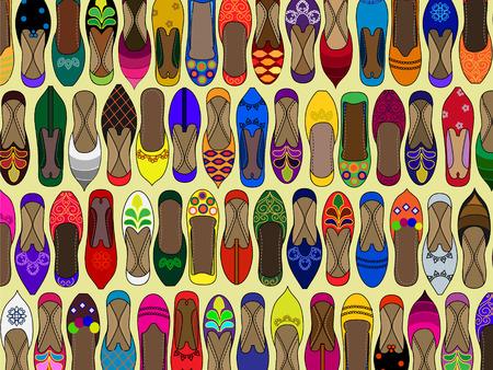 fille indienne: Motif de chaussures traditionnelle indienne juttis