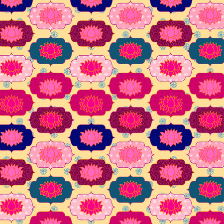 Seamless pattern with lotus flowers vector background Vector
