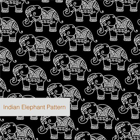 장식 인도 코끼리 패턴 일러스트