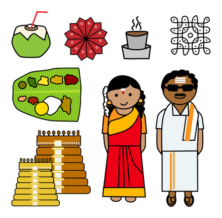 indian food: Vector illustration of South Indian couple and Icons