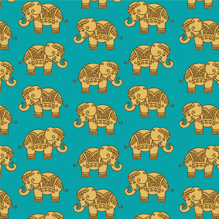 seamless tile: Decorative Indian Elephant pattern