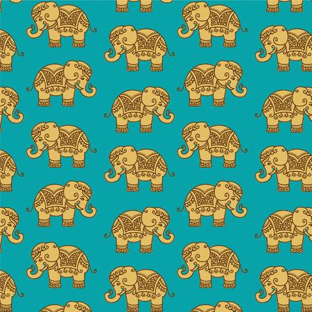 seamless vector: Decorative Indian Elephant pattern