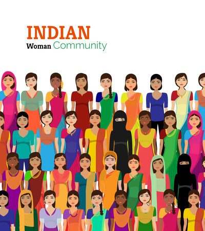 young adult: Big crowd of Indian women vector avatars detailed illustration  Indian woman representing different statesreligions of India.