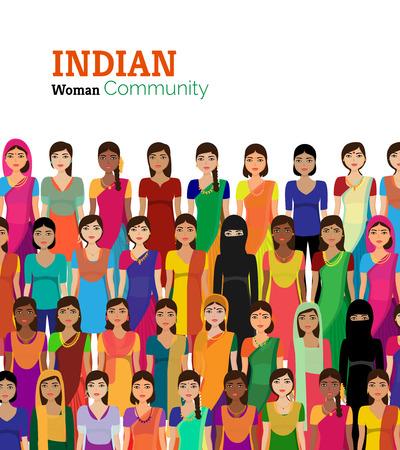 mujeres felices: La gran multitud de mujeres de la India vector avatares ilustraci�n mujer india detallada representando diferentes statesreligions de la India.
