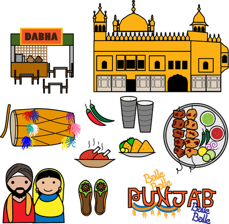 indian happy family: Vector Icons depicting the culture of Punjab India. Illustration