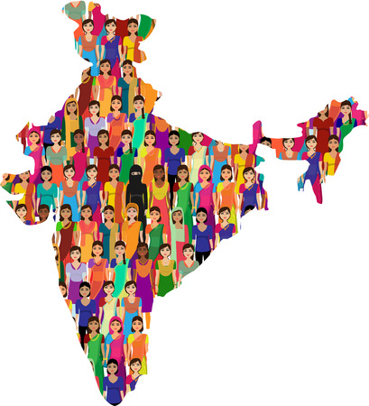 map of india: Big crowd of Indian women vector avatars detailed illustration  Indian woman representing different statesreligions of India.