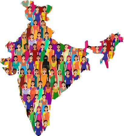 young people group: Grande folla di donne indiano vettore avatars dettagliata illustrazione donna indiana che rappresentano diverse statesreligions dell'India.