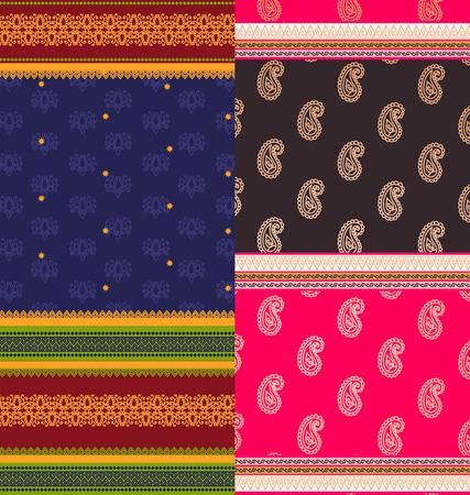 sari: Indian Sari Borders, detailed and easily editable Illustration