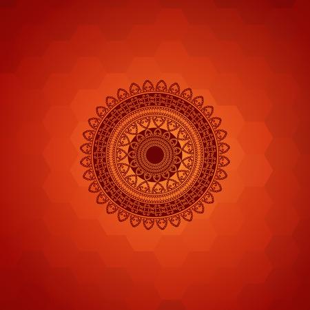 saree: Ethnic  Colorful Henna Mandala design, on festive background