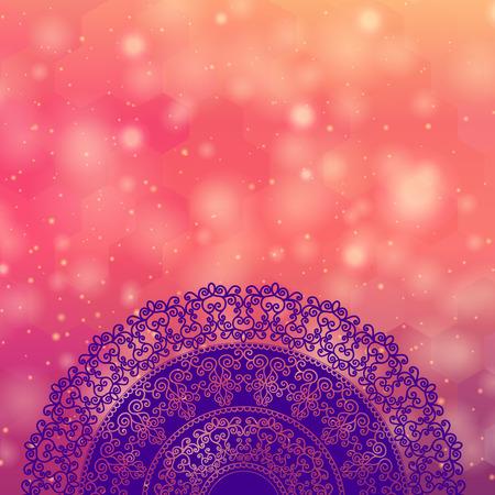 rangoli: Ethnic  Colorful Henna Mandala design, on festive and glitter bokeh background Illustration