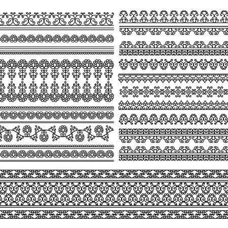 elaborate: Henna Banner Border, Henna inspired Colourful Border - very elaborate and easily editable Illustration