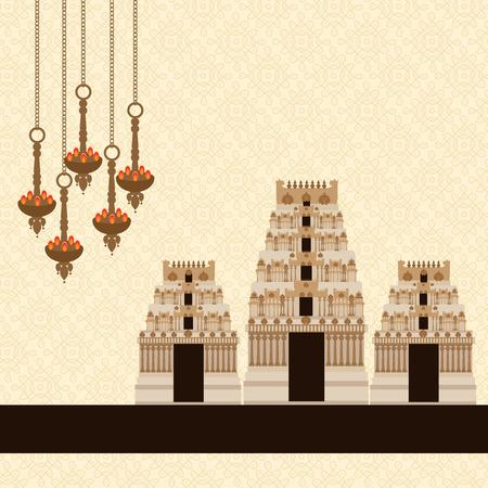 indianische muster: Hindu-Tempel am Muster-Hintergrund