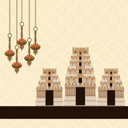 lamps: Hindu Temple on Pattern Background