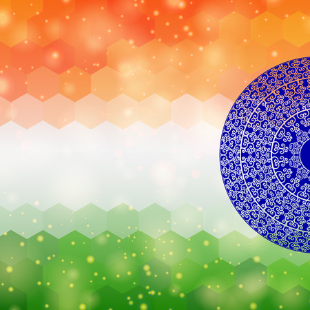 26th: Indian flag design, on festive and glitter bokeh background