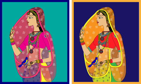 mogul: Indian Queen  princess portrait -inspired by 16th century India Rajput style of art