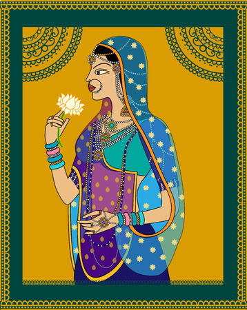 Indian Queen  princess portrait -inspired by 16th century India Rajput style of art