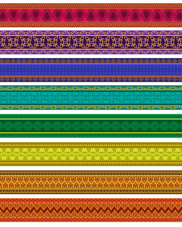 saree: Henna Banner Border, Henna inspired Colourful Border - very elaborate and easily editable Illustration