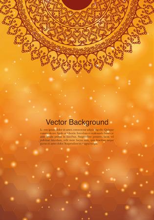 お祭りでのエスニック ・ カラフルなヘナ曼荼羅デザインとキラキラ背景のボケ味
