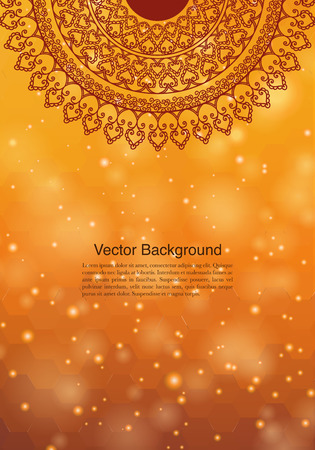 Design etnico & Colorful Henna Mandala, su sfondo di festa e glitter bokeh Archivio Fotografico - 68179677