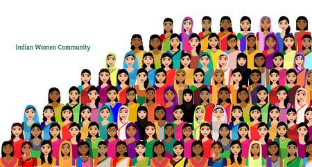 sociedade: Big multidão de avatares vetor mulheres indianas - mulher indiana representando diferentes estados  religiões da Índia. Vector a ilustração plana de uma multidão de mulheres de diversas origens étnicas Ilustração