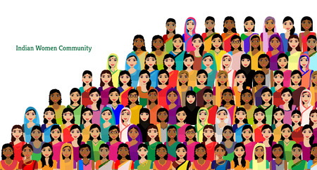 Big crowd of Indian women vector avatars - Indian woman representing different states/religions of India. Vector flat illustration of a crowd of women from diverse ethnic backgrounds Vettoriali