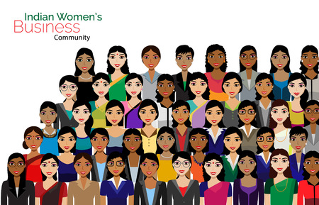 indian professional: Crowd of Indian Business women vector avatars detailed illustration. Vector flat illustration of women business community. Illustration