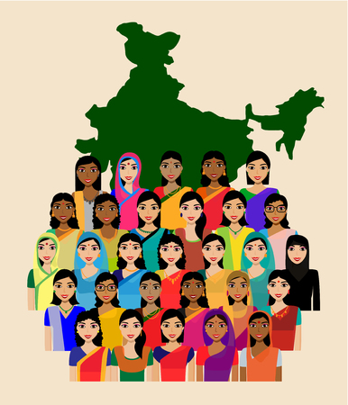 masses: Big crowd of Indian women vector avatars - Indian woman representing different statesreligions of India. Vector flat illustration of a crowd of women from diverse ethnic backgrounds